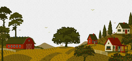Rural landscape. Panoramic landscape with village and trees.  イラスト・ベクター素材