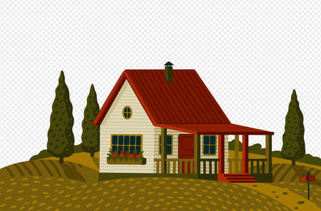 Countryside landscape. Rural landscape with white suburb house in rustic style on green field with cypresses