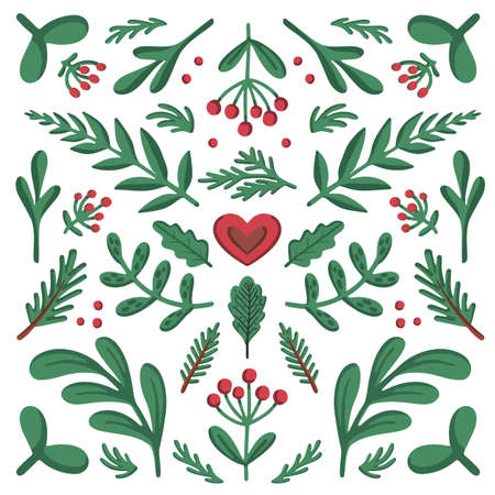Scandinavian-style ornament. Beautiful symmetrical composition for cozy home things like pillow, posters, stencils. Colorful flat vector illustration.  イラスト・ベクター素材