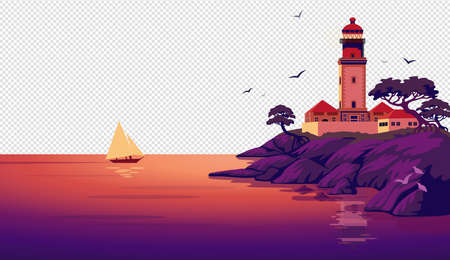 Lighthouse vector landscape. Beautiful sea landscape with a beacon on the cliff on transparent background. Vector illustration in flat cartoon style