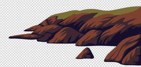 Cliff, vector sea rocky coast isolated on white background. Vector illustration in flat cartoon style  イラスト・ベクター素材