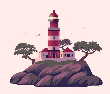 Lighthouse, Beautiful beacon on the cliff with pines. Vector illustration in flat cartoon style..