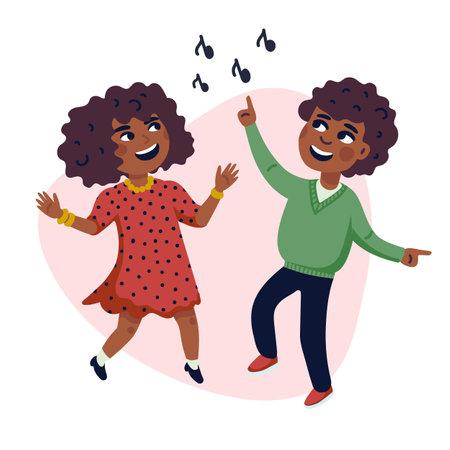 Dancing Kids, Cartoon vector illustration of happy Multicultural children. Flat style vector illustration.