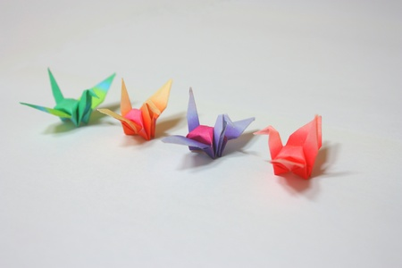 likeness: Colorful paper origami with crane likeness