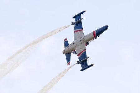 aero: Aero L-159 ALCA light attack aircraft acrobatics Stock Photo