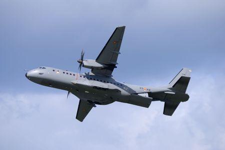 turboprop: spanish airforce transport turboprop with back door bay open Stock Photo