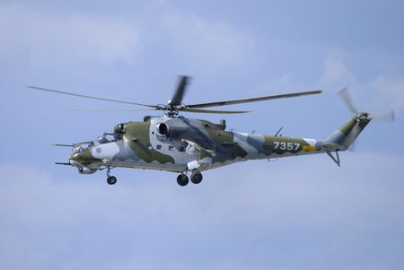 mi: czech airforce mi 24 hind attack helicopter in flight Stock Photo