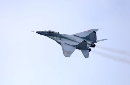 supersonic transport: russian supersonic fighter flying during an airshow