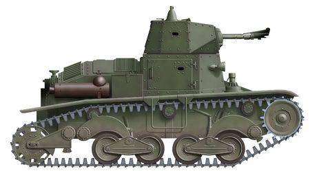 prototype: computer illustration of italian ww2 flamethrower tank prototype             Stock Photo