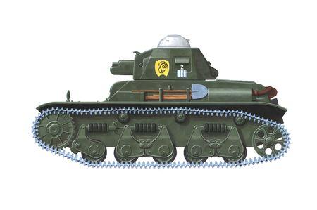 ww2: hand drawn illustration of french ww2 tank Stock Photo