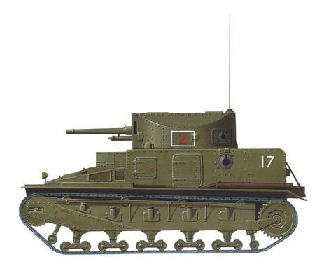 vickers: hand drawn illustration of british early ww2 medium tank Stock Photo