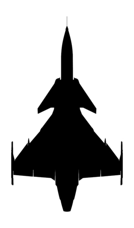 swedish supersonic fighter gripen silhouette Vector
