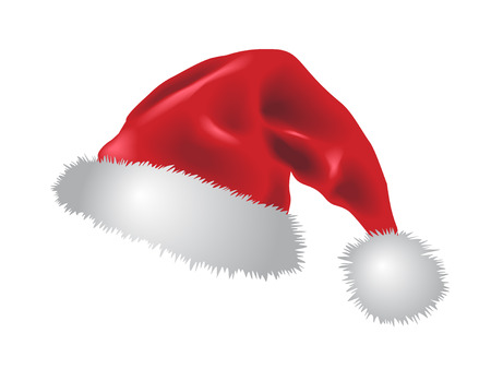 christmas santa red hat illustration on white background - blend and gradient only, no mesh!