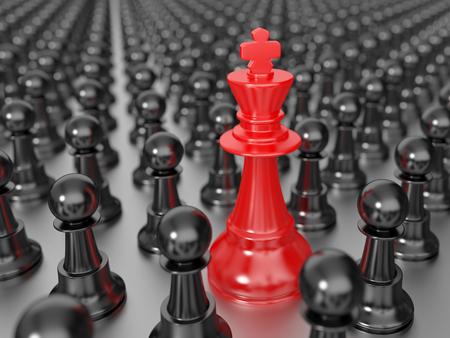 Rode koning schaak met zwarte pionnen Stockfoto