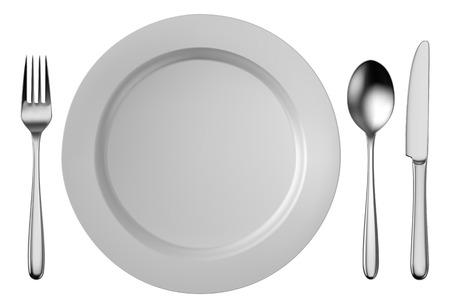 Stříbrné příbory set s bílém talíři na bílém pozadí