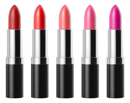 Rode lippenstift set op een witte achtergrond