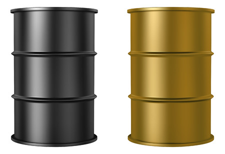 Barriles de petróleo aislados sobre fondo blanco