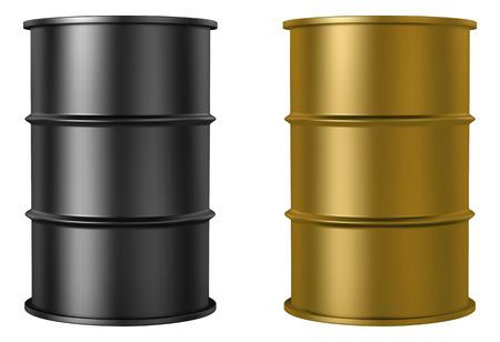 barril de petróleo: Barriles de petróleo aislados sobre fondo blanco