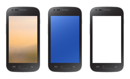 Black smartphone collection with blurry blue and empty screen isolated on white background Vector