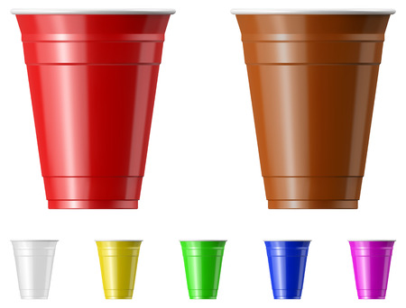 Plastic cup vector illustration set