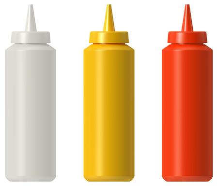 Butelka z majonezem z ketchupem i musztardą