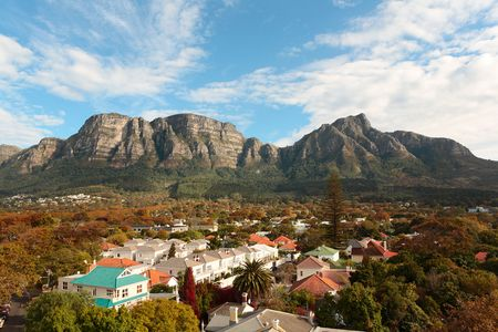 View of part of the Table Mountain range in Cape Town, South Africa, with residential suburbs on its slopes