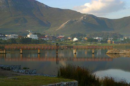 Bridge over lagoon in Kleinmond, South Africa Stock Photo
