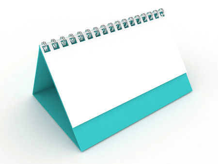 3D Blank Calendar-Turquoise Stock Photo