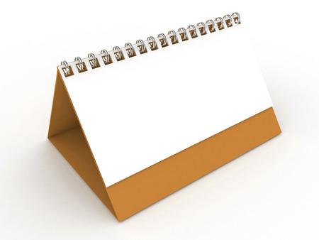 numerate: 3D Blank Calendar-Yellowish Orange Stock Photo