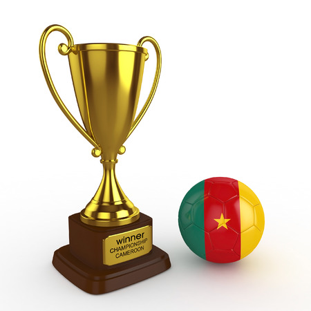 favorable: 3d Cameroon Soccer Cup and Ball - isolated
