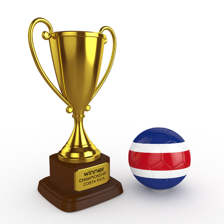 elimination: 3d Costa Rica Soccer Cup and Ball - isolated Stock Photo
