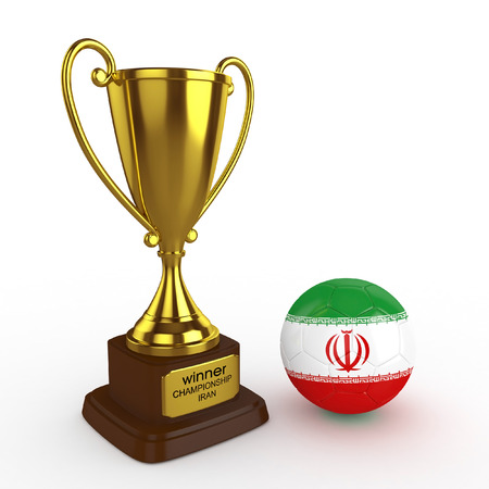 favorable: 3d Iran Soccer Cup and Ball - isolated Stock Photo