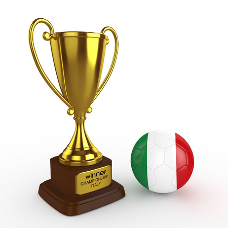 3d Italy Soccer Cup and Ball - isolated photo