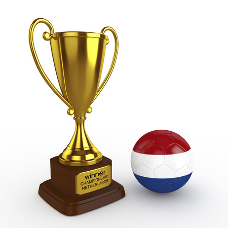 elimination: 3d Netherlands Soccer Cup and Ball - isolated