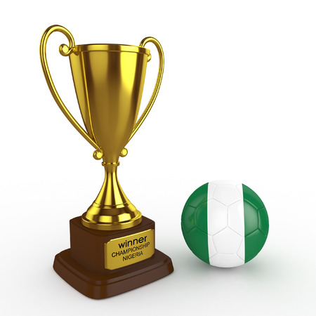 elimination: 3d Nigeria Soccer Cup and Ball - isolated Stock Photo
