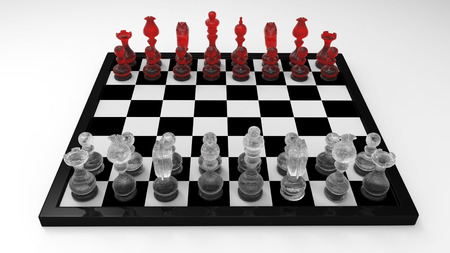king master: 3d Chess Master Set with Glass Chessman - isolated