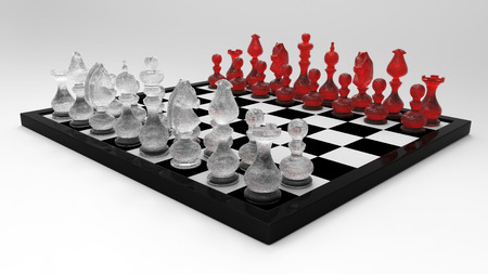 3d Chess Master Set with Glass Chessman  Left Perspective View - isolated photo