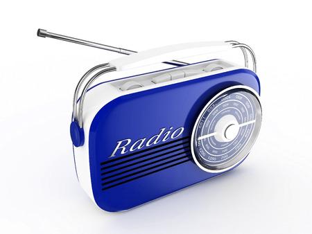 3d Retro Radio Blue - isolated photo