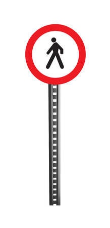 licence: Traffic Warning Signboard, pedestrian way - isolated Stock Photo