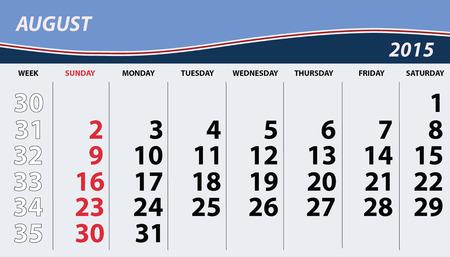august calendar: 2015 agosto Calendario Vectores