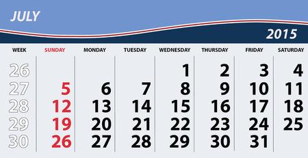 basic letters: 2015 July Calendar