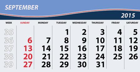 calendario septiembre: 2015 septiembre Calendario