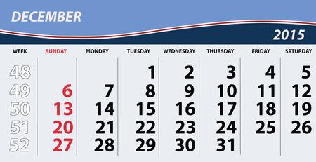 december calendar: 2015 Dicembre Calendar Vettoriali