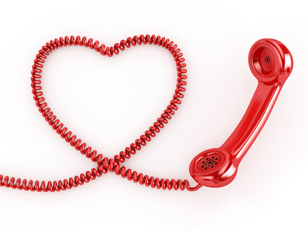 3d Phone Reciever with Heart Cord