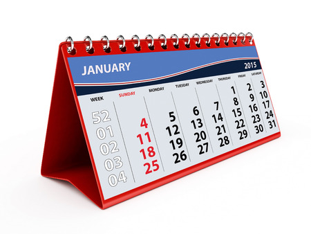lux: 2015 Lux Red January Calendar - isolated
