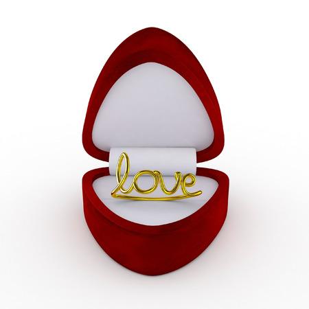 3d ring: 3d Velvet Ring Box with Golden Love Ring - isolated Stock Photo
