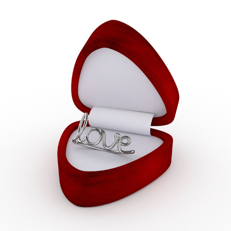 argent: 3d Velvet Ring Box with Silver Love Ring (Right Perspective View) - isolated