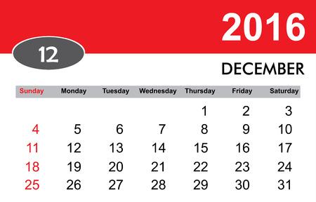 in december: Montly December 2016 Calendar
