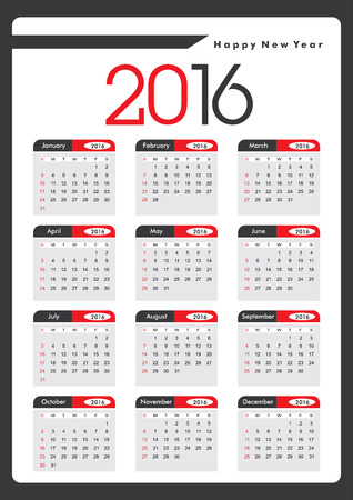 yearly: 2016 Yearly Calendar Stock Photo