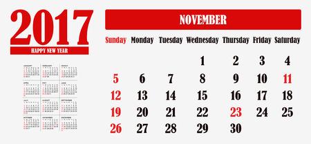 november calendar: Happy New Year 2017 November Calendar Stock Photo